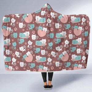Lovely Cats Hooded Blanket