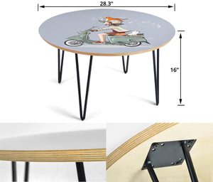Girl and Cats  Circular Coffee Table