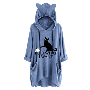I Do What I Want Oversize Hoodie With Cat Ears
