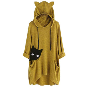 Sneak Cat Oversize Hoodie With Cat Ears