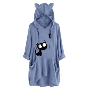 Cat and Fish Oversize Hoodie With Cat Ears