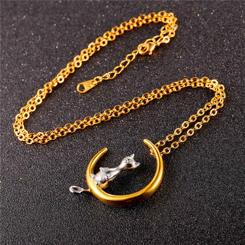 Moon And Cute Cat Pendant With Chain Silver & Gold Color