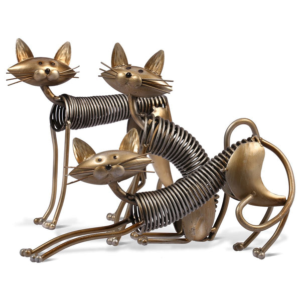 Stretching Cat Iron Sculpture