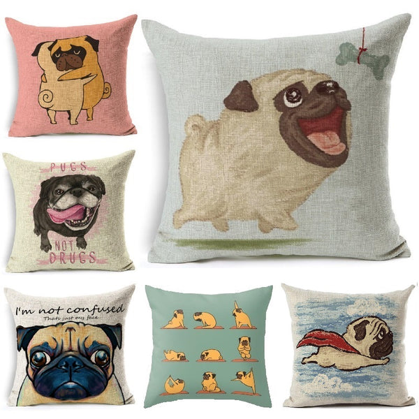 Cute Dog Pug Cushion Pillow Cover