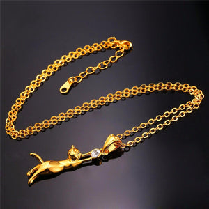 Cat Necklace Gold/Silver Plated Jewelry - Pets Lovers Store