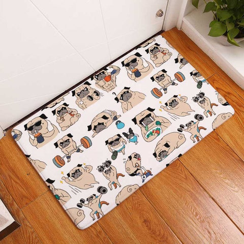 Cute Pug Waterproof Floor Mat