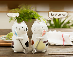 Cute Cat Ceramic Mugs with 3D Lid and Spoon 400ml - Pets Lovers Store