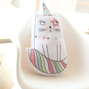 Kawaii Unicorn, One-horned Cat, Icecream Plush Pillow