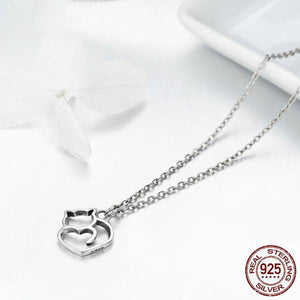 925 Sterling Silver Lovely Cat Pendant Necklace