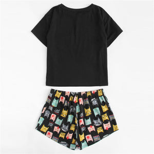 Cute Cat Print Tee & Shorts PJ Set 2019