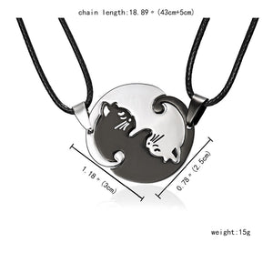 Yin Yang Cat Couple Necklace