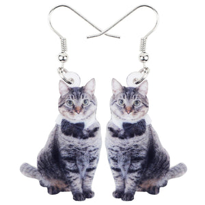 Cute Acrylic Elegant Cat Kitty Dangle Drop Earrings