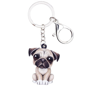 Acrylic Cartoon Lovely Pug Dog Key Chains
