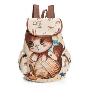 Cute Cat Drawstring Printing Backpack