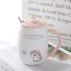Creative Unicorn Coffee Mug with Lid and Spoon