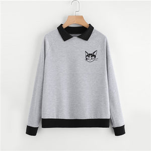 Contrast Collar Cat Print Sweatshirt