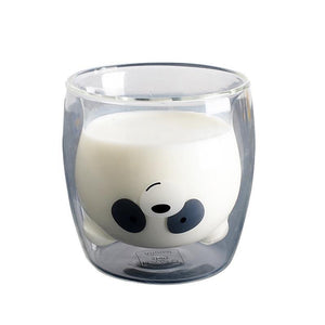 Lovely Panda Bear Double Wall Glass Cup