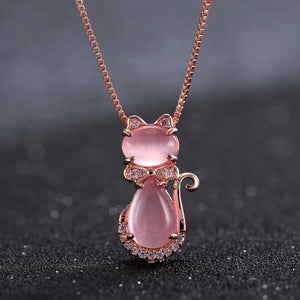 Cute Rose Gold Cat Necklace