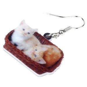 Cute Double Kitten Cat Basket Earrings