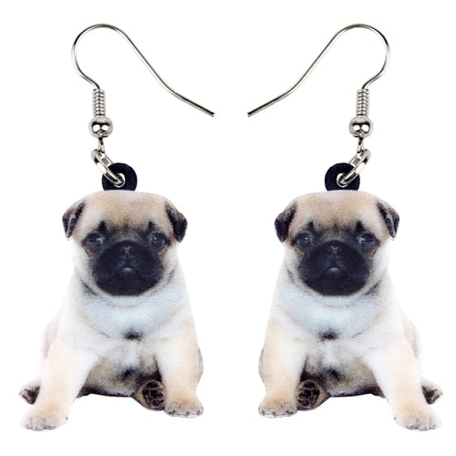 Sweet Pug Dog Puppy Earrings