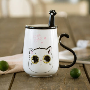 Cute Cat Ceramics Mug With Lid and Spoon