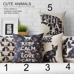 Cute KEEP CALM AND LOVE CATS Pillow Cushion Case Cover