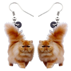 Cute Acrylic Fluffy Fatty Cat Kitten Earrings