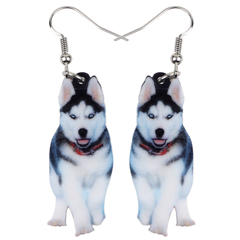 Handsome Siberian Husky Dog Earrings