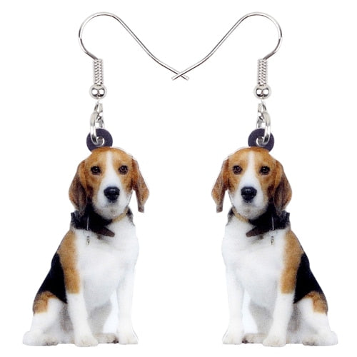 Cute Sitting Beagle Dog Earrings