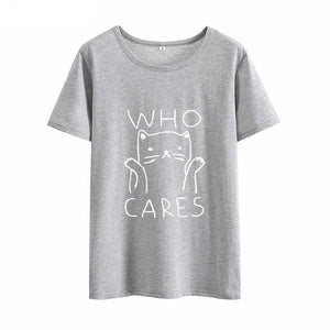 "Funny ""Who Cares"" Cat Shirt"