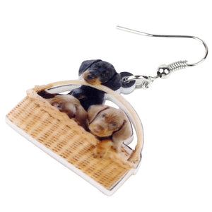 Cute Basket Of Dachshund Dog Earrings
