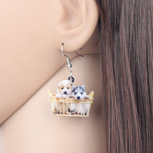 Cute Basket Of Husky Shih Tzu Puppy Dog Earrings