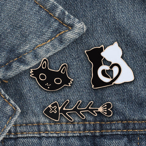 Cute Black White Cat Fish Bone Brooch Enamel Pins