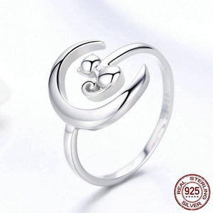 925 Sterling Silver Moon Cat Adjustable Rings