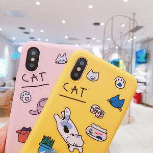 Cute Cartoon Naughty Cat iPhone Cases