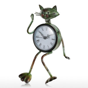 Cat Vintage Clock Handmade