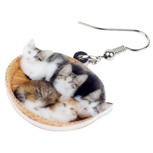 Cute Litter Of Cat Kitten Earrings
