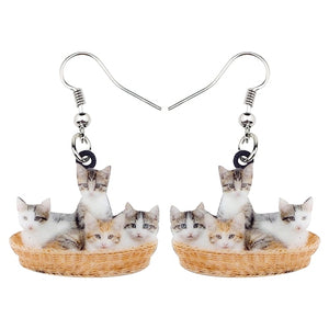 Cute Litter Of Cats Kitten Earrings