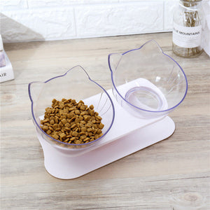 Cute Cat Double Bowl With Protection Cervical