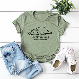 Cute Overthinking Cat Women T-shirt