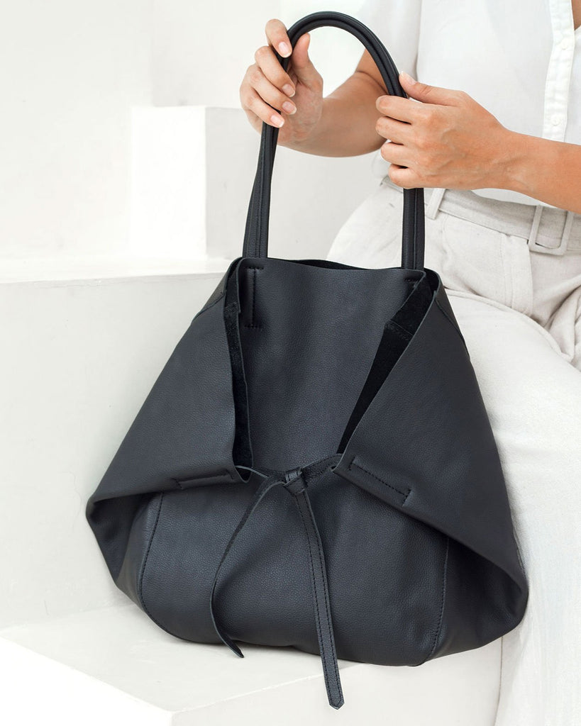 Milan Leather Tote - Black - Liberté