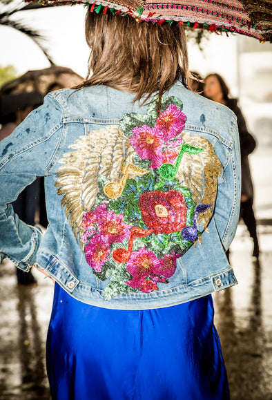 Embellished Musical Garden Denim Jacket