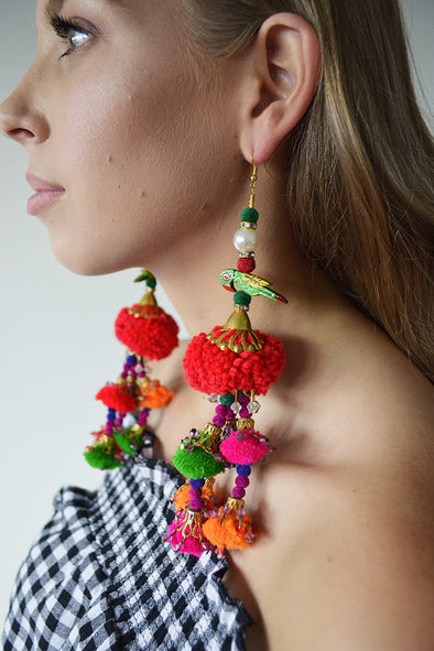 Exotically Spectacular Earrings with Red Poms
