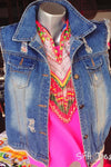 Mirrors Sleeveless Denim Jacket