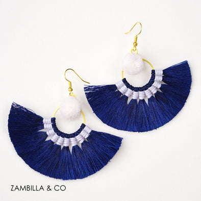 Admiral Pom Pom Mini Earrings