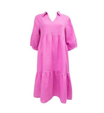 Linen Smock Dress in Pink