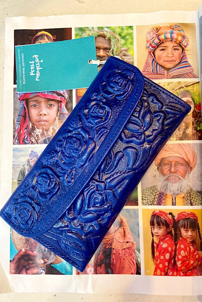 Gorgeous Mexican Leather Wallet in Blue