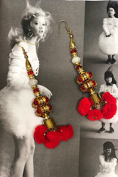 Golden Red Poms - Natural Wonders Earrings Collection