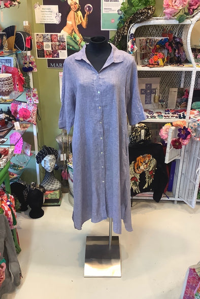 Button-down Linen Dress with Sleeves