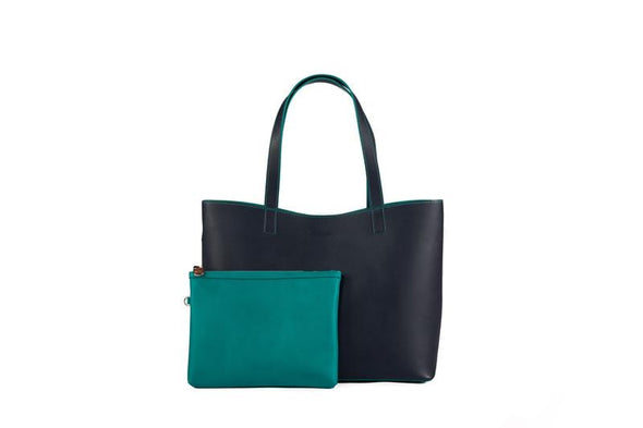 Chelsea Tote in Navy & Teal - Liv & Milly